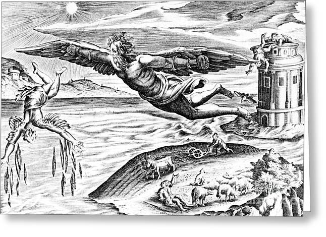 Daedalus Escaping From Crete With His Son, Icarus, Sees Him Falling To His Death Greeting Card by French School