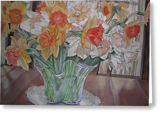 Daffodil Bouquet Greeting Card by Caron Sloan Zuger