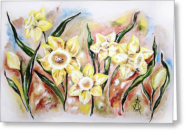 Daffodil Drama Greeting Card by Amanda  Sanford