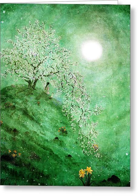 Daffodil Dream Meditation Greeting Card by Laura Iverson