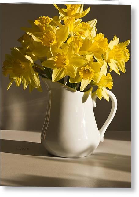 Daffodil Filled Jug Greeting Card by Sandra Foster