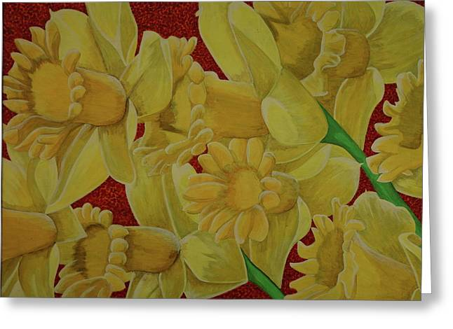 Greeting Card featuring the painting Daffodil Grandiflora by Paul Amaranto