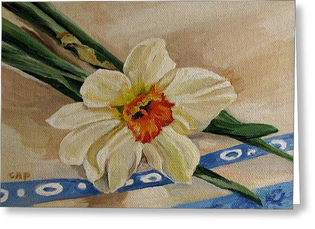 Daffodil Reclining Greeting Card by Cheryl Pass
