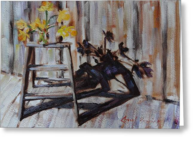 Daffodil Shadows Greeting Card by Carol Berning