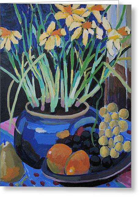 Daffodills And Fruit Greeting Card