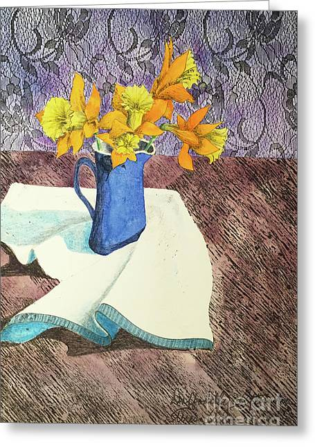 Daffodilly Afternoon Greeting Card by Teresa Ascone