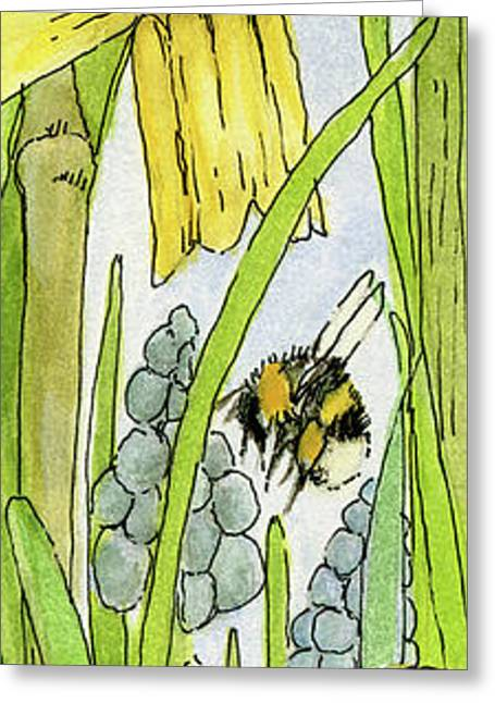 Daffodils And Bees Greeting Card
