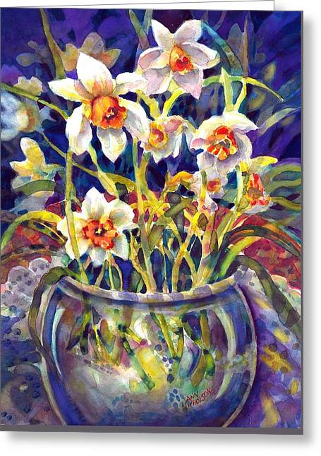 Daffodils And Lace Greeting Card