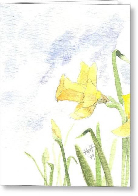 Daffodils Greeting Card by Denise   Hoff