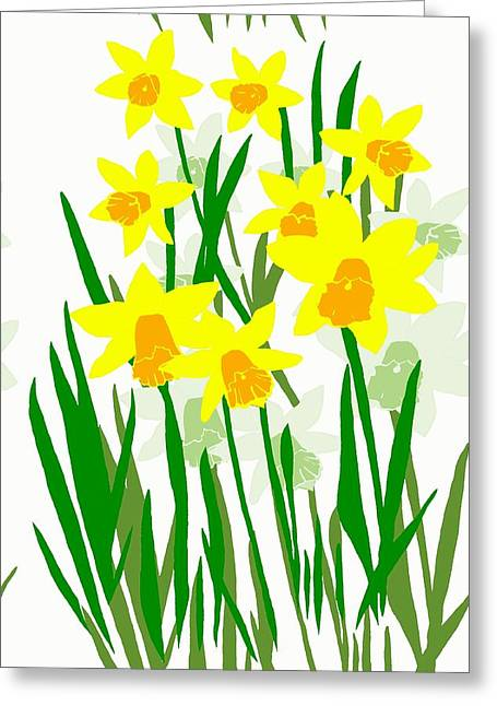 Daffodils Drawing Greeting Card