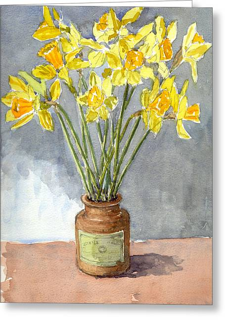 Daffodils In A Pot. Greeting Card by Mike Lester