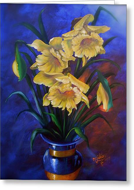 Daffodils In Cobalt Vase Greeting Card by Micheal Giddens