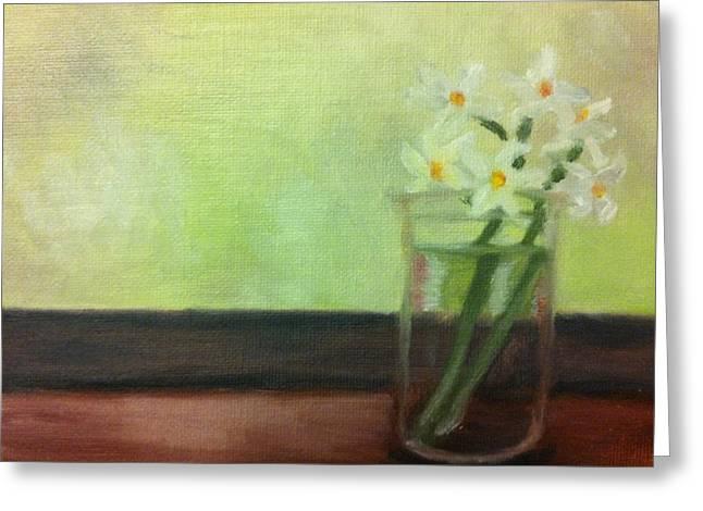 Daffodils In Jar Greeting Card