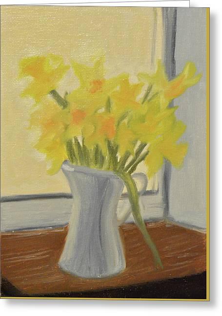 Daffodils In Jug Greeting Card