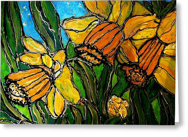 Greeting Card featuring the painting Daffodils by Laura  Grisham