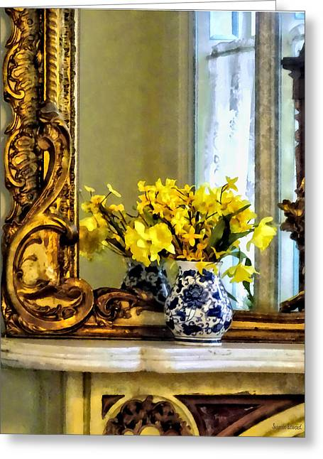 Daffodils On Mantelpiece Greeting Card by Susan Savad