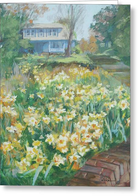 Daffodils On The Corner Greeting Card by Carol Strickland