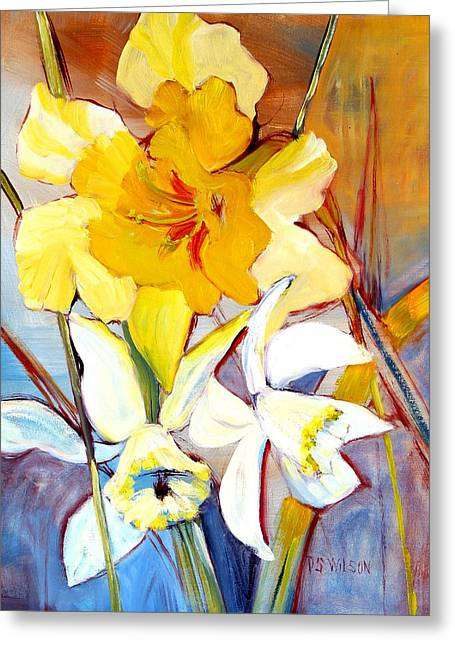 Daffodils Greeting Card by Peggy Wilson