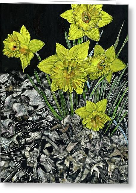 Daffodils Greeting Card by Robert Goudreau