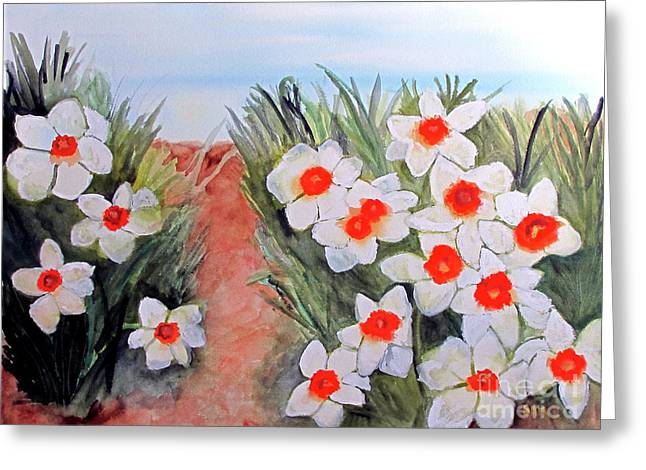 Greeting Card featuring the painting Daffodils by Sandy McIntire