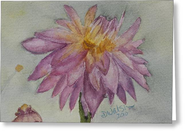 Greeting Card featuring the painting Dahlia At Eastport Me by Donna Walsh