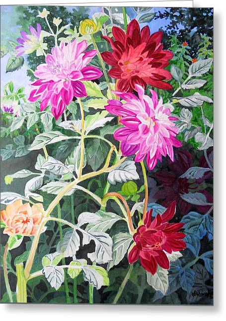 Dahlias 4 Greeting Card by Vishwajyoti Mohrhoff