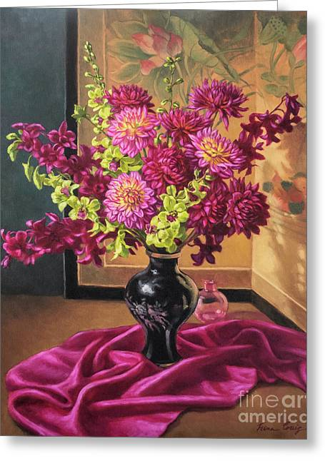 Dahlias And Orchids On Silk Greeting Card by Fiona Craig
