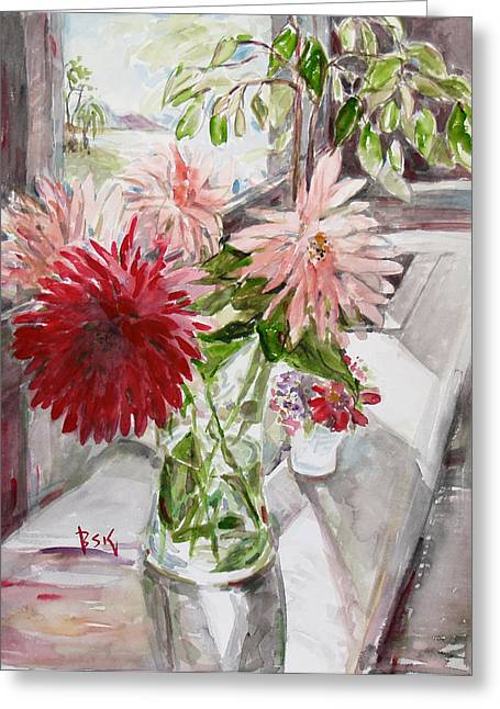 Becky Kim Greeting Cards - Dahlias Greeting Card by Becky Kim