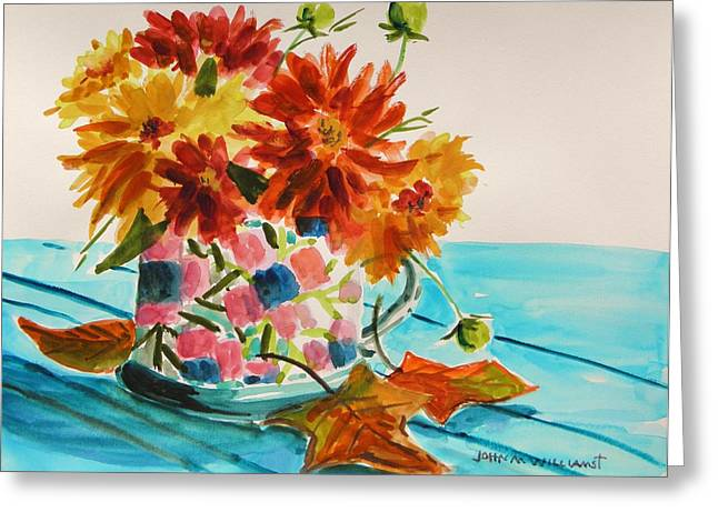 Dahlias In A Painted Cup Greeting Card by John Williams