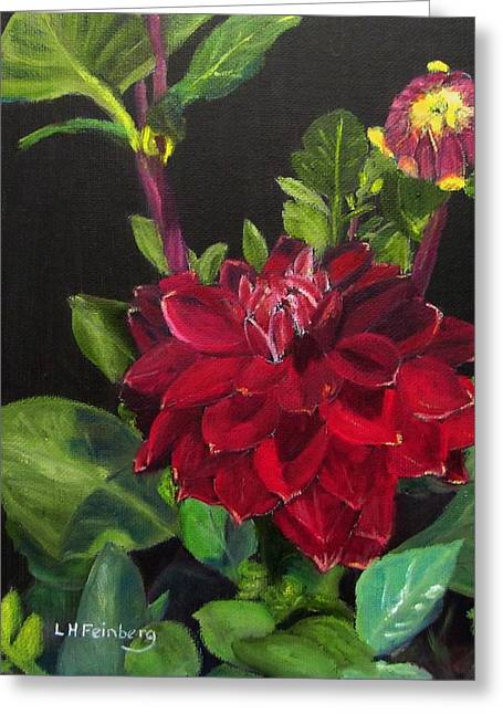 Greeting Card featuring the painting Dahlias In My Garden by Linda Feinberg