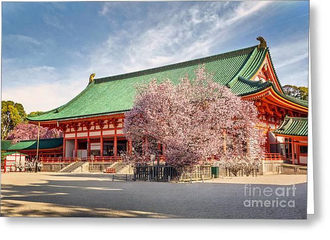 Daigukuden Main Hall Of Heian Jingu Shrine Greeting Card