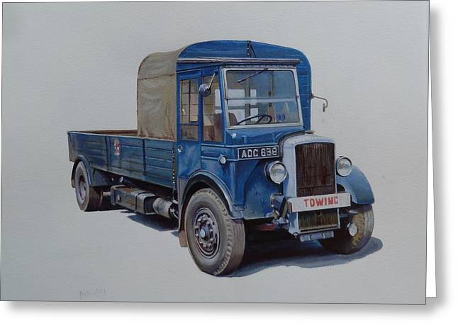 Greeting Card featuring the painting Daimler Wrecker Btc by Mike Jeffries