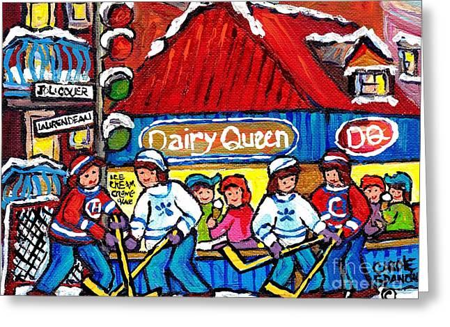 Dairy Queen Lasalle Ice Cream Parlor Winter Hockey Scene Montreal Canadian Artist Carole Spandau     Greeting Card