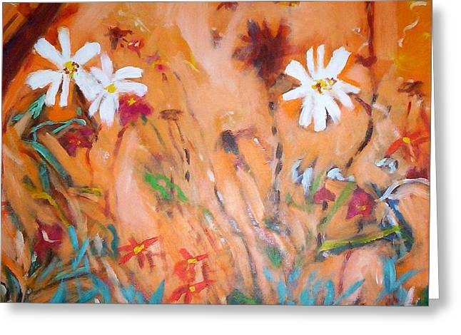 Daisies Along The Fence Greeting Card by Winsome Gunning
