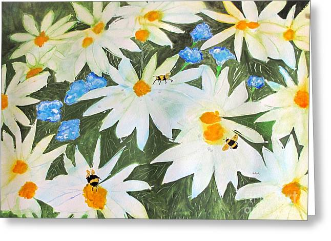 Greeting Card featuring the painting Daisies And Bumblebees by Sandy McIntire