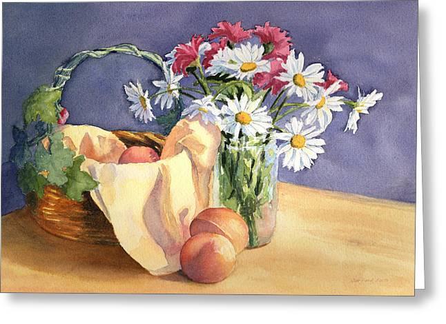 Daisies And Peaches Greeting Card by Vikki Bouffard