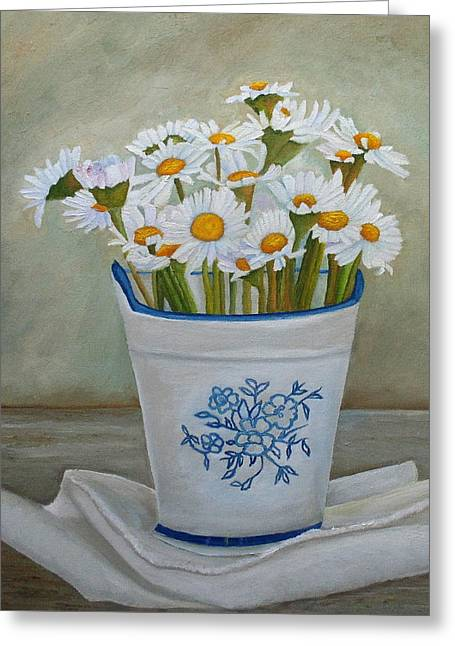 Greeting Card featuring the painting Daisies And Porcelain by Angeles M Pomata