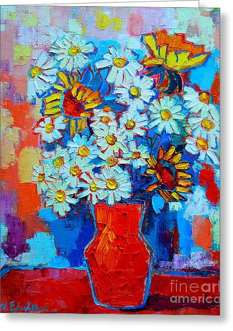Daisies And Sunflowers Greeting Card by Ana Maria Edulescu