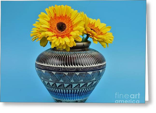 Daisies Displayed In Navajo Native American Vase Greeting Card