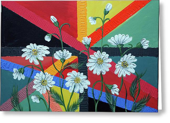 Daisies In A Modern Backgrownd Greeting Card