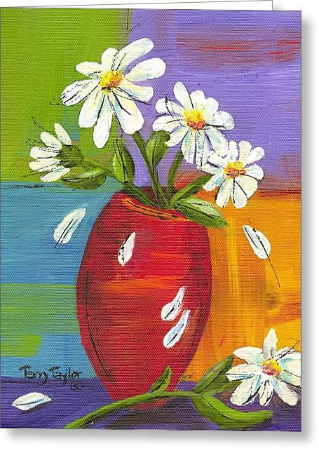 Daisies In A Red Vase Greeting Card