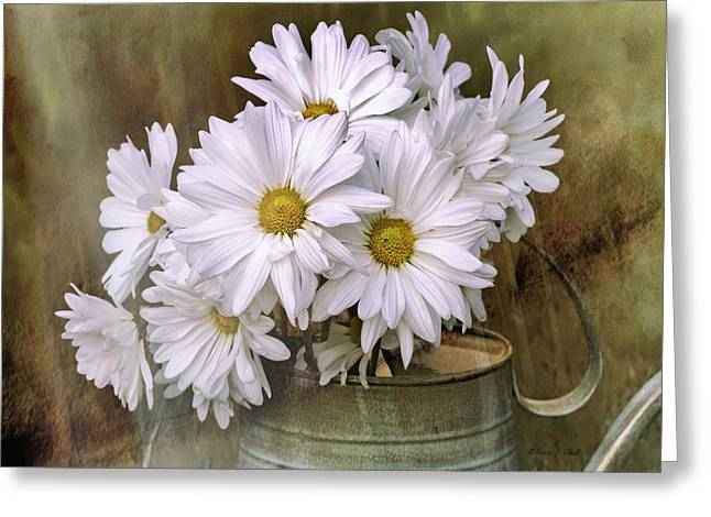 Greeting Card featuring the photograph Daisies In Antique Watering Can by Bellesouth Studio