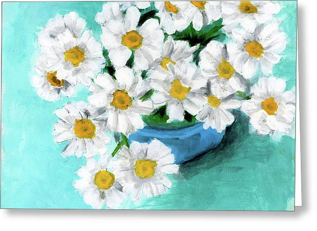 Daisies In Blue Bowl Greeting Card