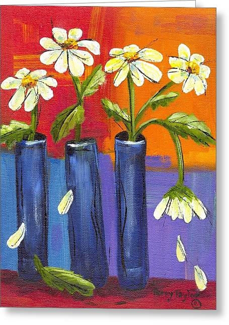 Daisies In Blue Vases Greeting Card