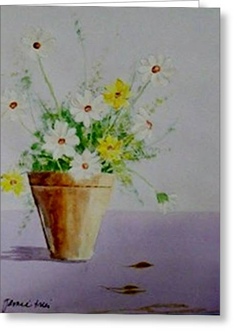 Greeting Card featuring the painting Daisies In Pot by Jamie Frier