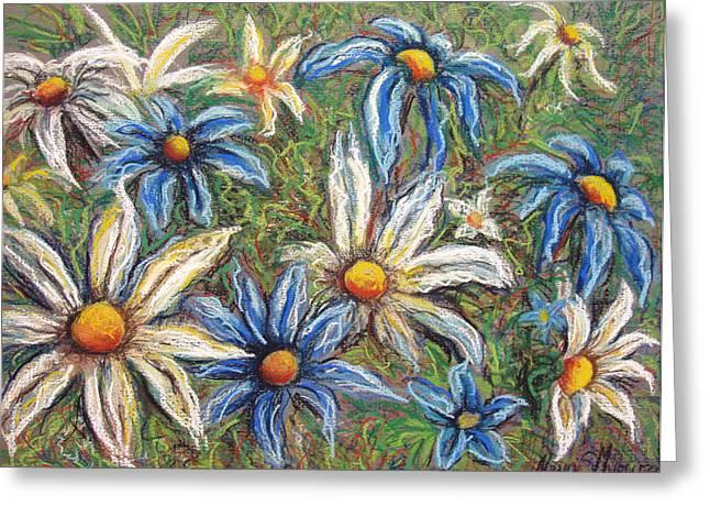 Daisies Pastel Greeting Card by Nancy Mueller