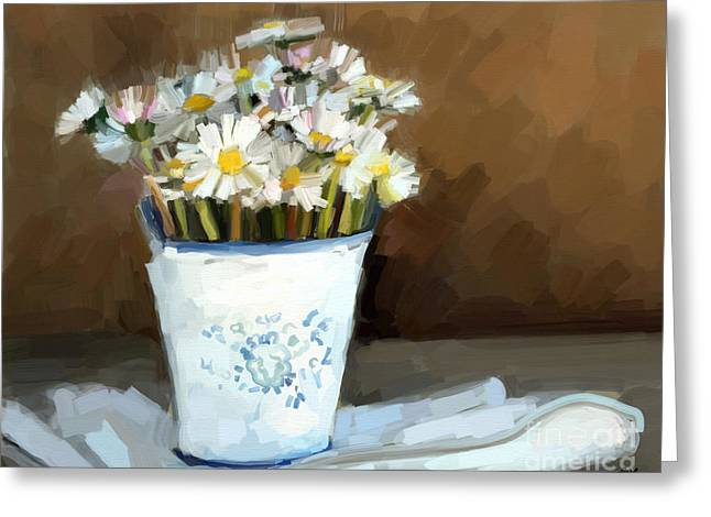 Daisies Study Greeting Card by Carrie Joy Byrnes