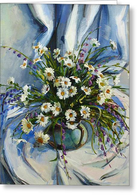 Greeting Card featuring the painting Daisies by Tigran Ghulyan