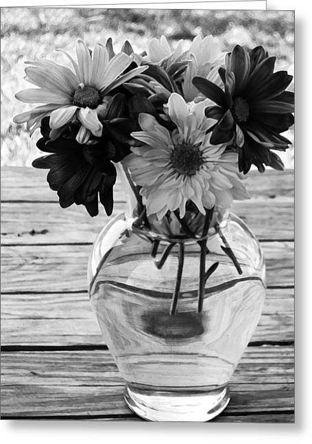 Daisy Crazy Bw Greeting Card by Angelina Vick