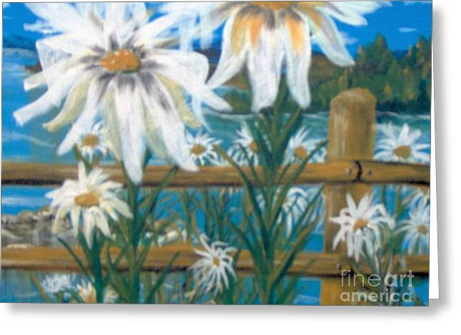 Greeting Card featuring the painting Daisy Dance by Saundra Johnson